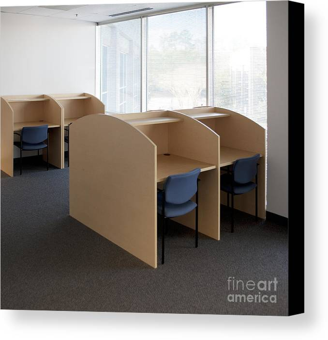 Architecture Canvas Print featuring the photograph Empty Carrels by Will & Deni McIntyre