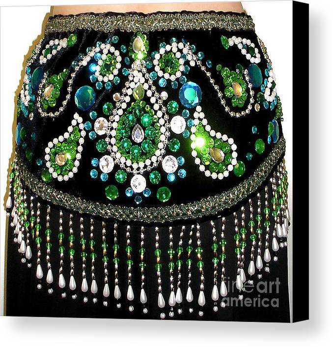 Ameynra Canvas Print featuring the photograph Beadwork And Rhinestones. Belly Dance Fashion by Sofia Metal Queen