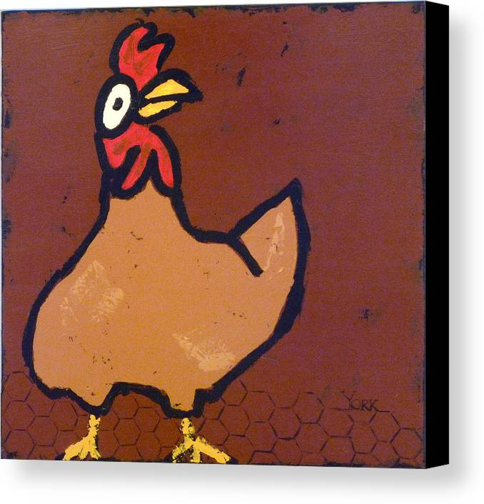 Chicken Canvas Print featuring the painting chicken Scratch by Ron York