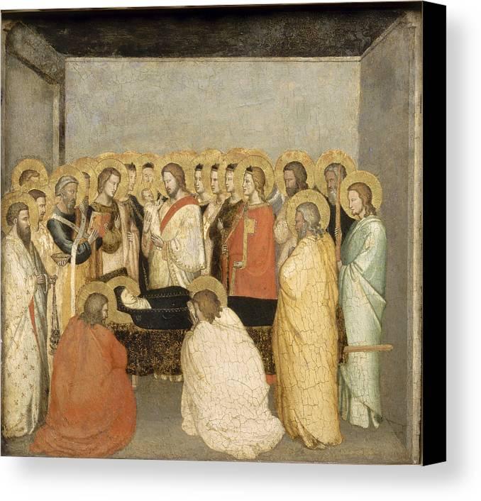 Maso Di Banco Canvas Print featuring the painting Dormition Of The Virgin by Maso di Banco