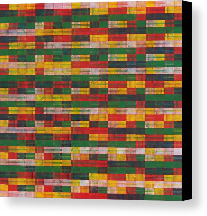 Abstract Pattern Green Red Yellow White Canvas Print featuring the painting Fac5-horizontal by Joan De Bot