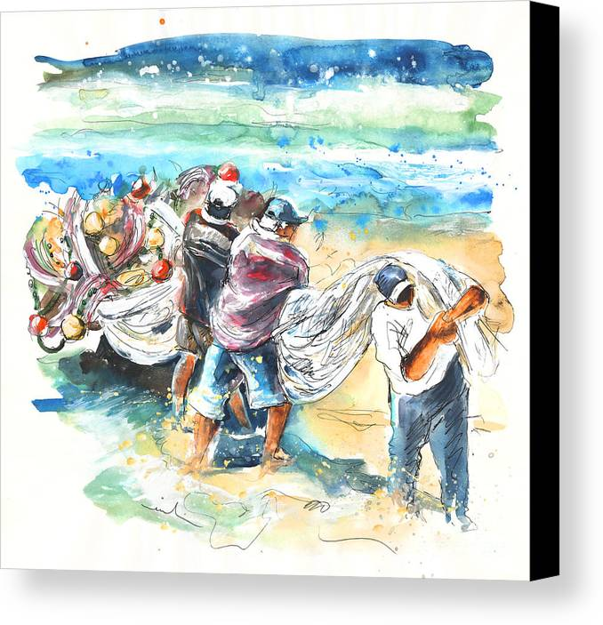 Portugal Canvas Print featuring the painting Fishermen In Praia De Mira by Miki De Goodaboom