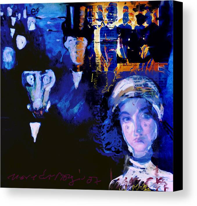 Human Compostion Canvas Print featuring the mixed media La Marche by Noredin Morgan