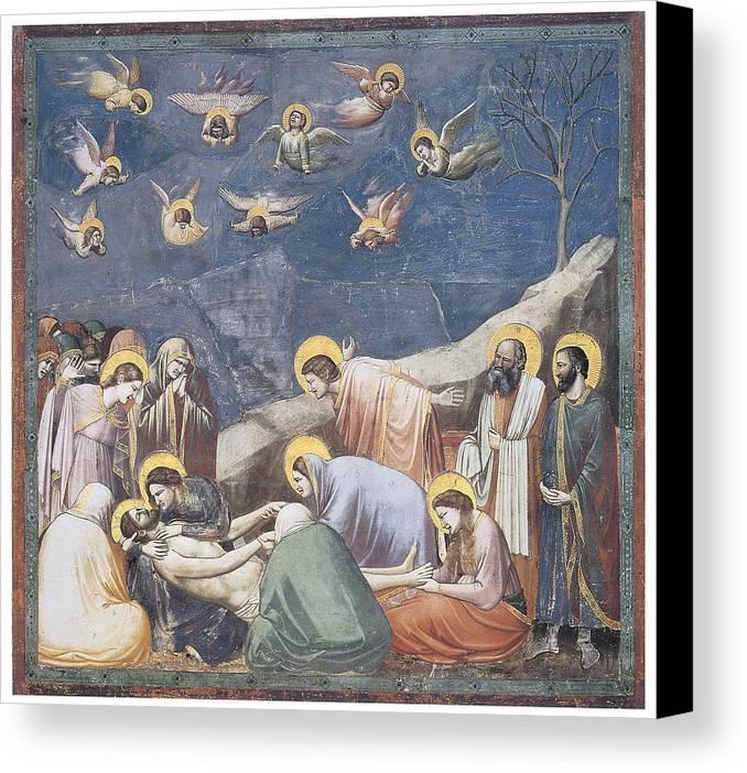 Giotto Di Bondone Canvas Print featuring the painting Lamentation by Giotto Di Bondone