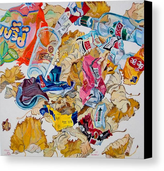 Leaf Canvas Print featuring the painting Leaves And Rubbish by Vitali Komarov