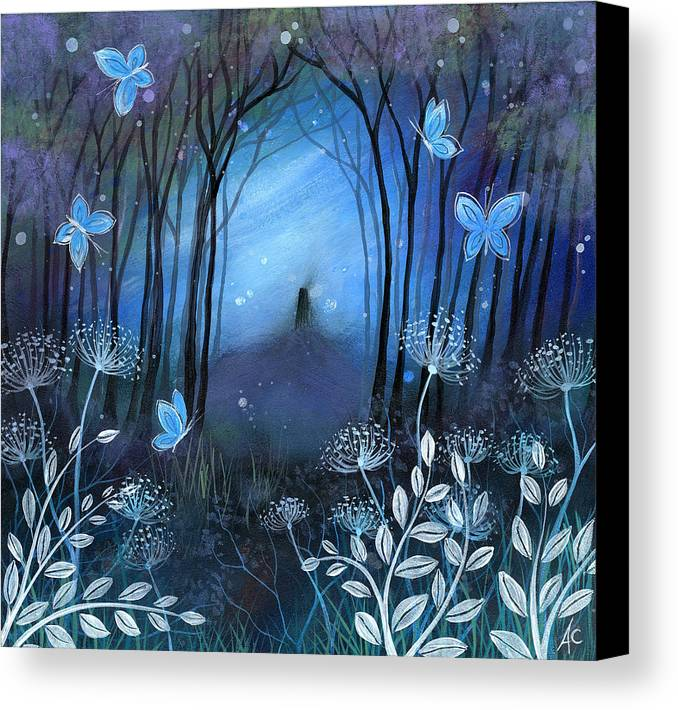 Landscape Canvas Print featuring the painting Midnight by Amanda Clark