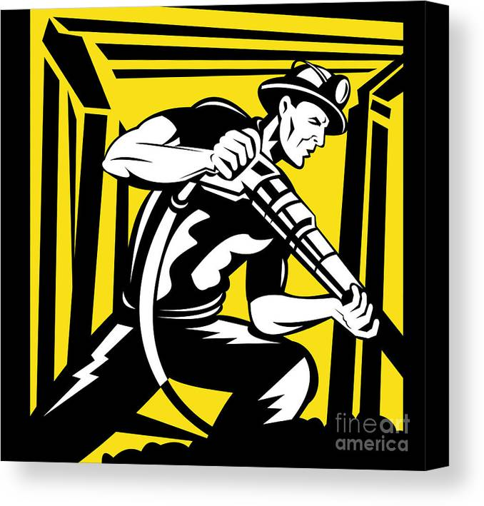 Illustration Canvas Print featuring the digital art Miner With Pneumatic Drill by Aloysius Patrimonio