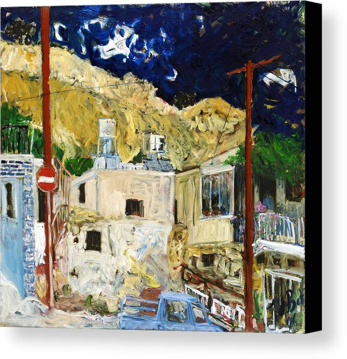 Village Houses Traffic Sign Telephone Cables Van Mountain Dark Sky Canvas Print featuring the painting Pissouri Village by Joan De Bot