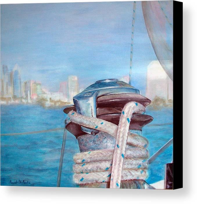 Landscape Canvas Print featuring the painting San Diego by Muriel Dolemieux
