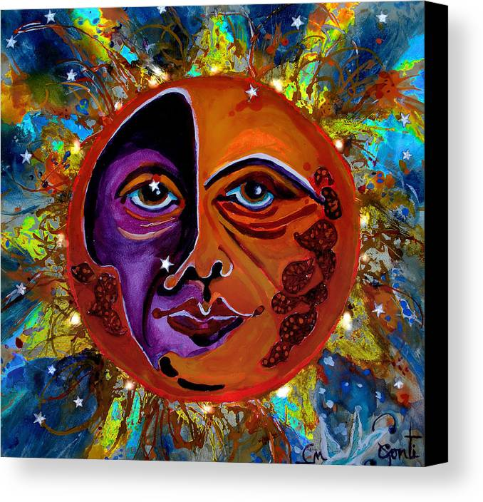 Cbs Sunday Morning Show Canvas Print featuring the painting Sun Duality by Mary Sonya Conti