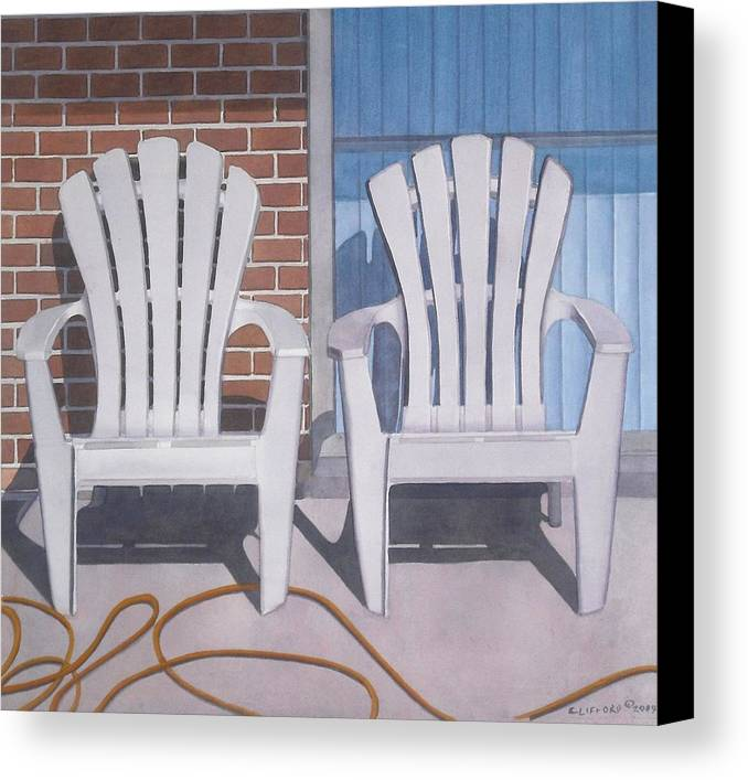 Adirondack Chairs Canvas Print featuring the painting Yellow Garden Hose by Cory Clifford