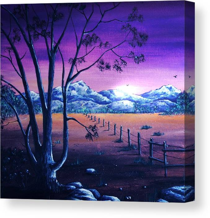 Moon Canvas Print featuring the painting Midnight At The Border by Anastasiya Malakhova