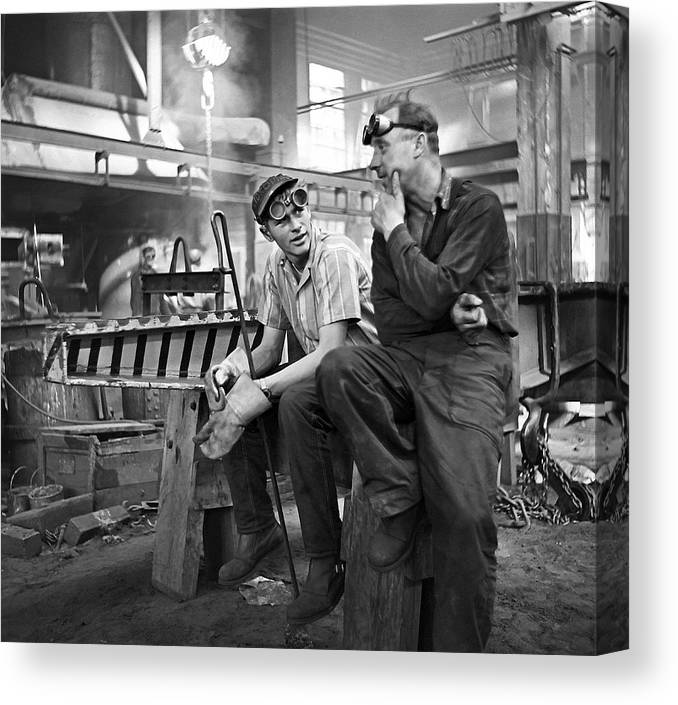 Foundry Workers Canvas Print featuring the photograph Swedish Foundry Workers by David Murphy