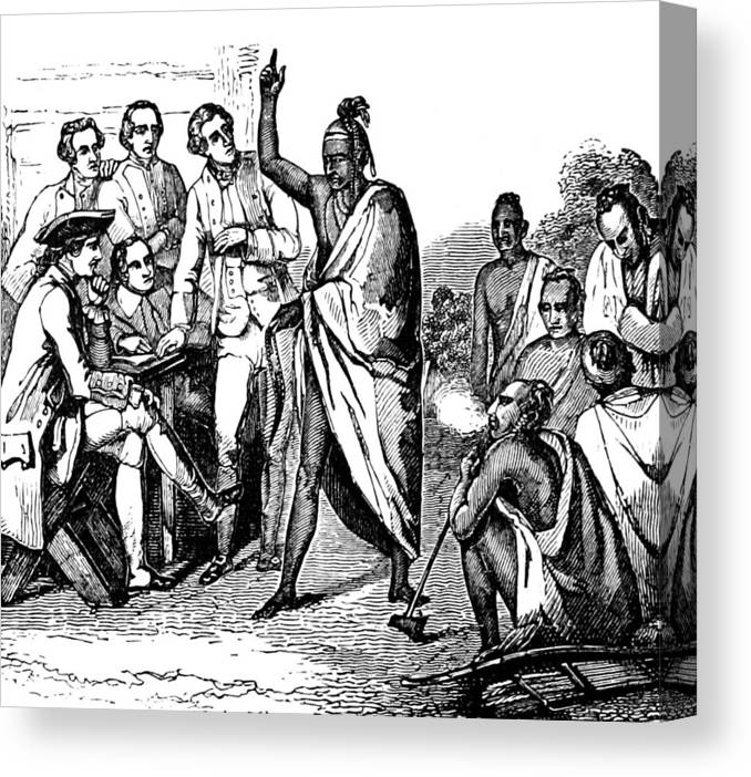 Treaty With Iroquois Indians Five Canvas Print