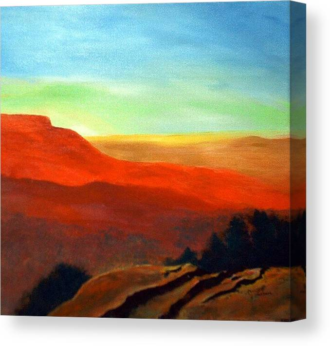 Landscape Canvas Print featuring the painting Anew by Julie Lamons