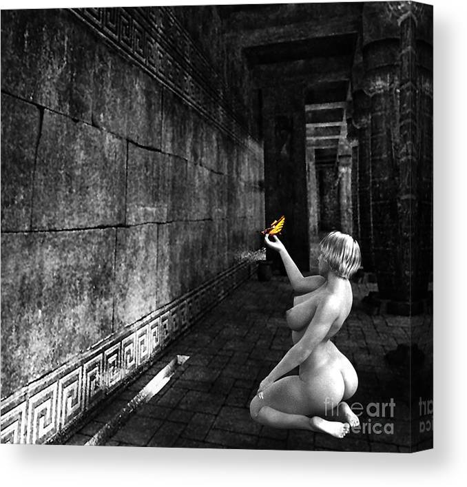 Nude Canvas Print featuring the photograph Butterfly In The Catacombs 2 by Broken Soldier
