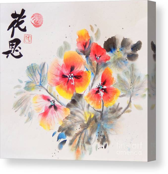 Contemporary Art Canvas Print featuring the painting Delicate Poppies by Sharon Nelson-Bianco