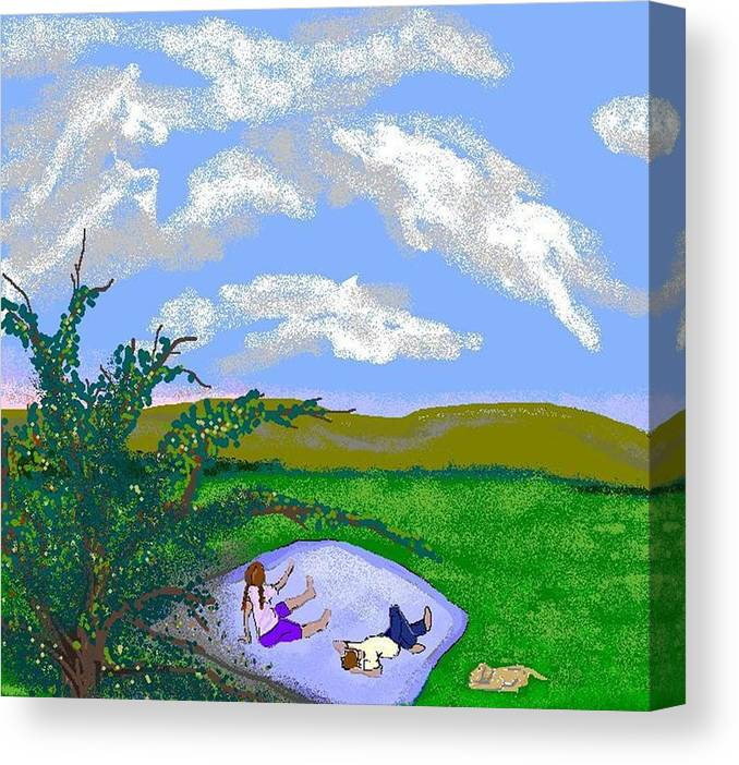 Children Canvas Print featuring the digital art I See Horses by Carole Boyd