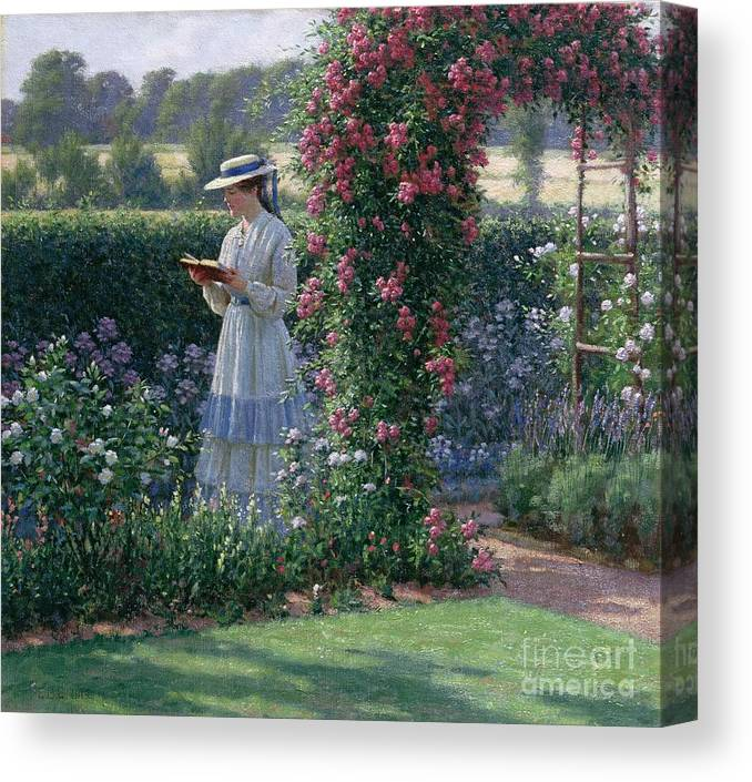 Garden; Reading; Book; Woman; Lawn; Flower;rose; Bed; Hedge; Climbing; Arch; Path Canvas Print featuring the painting Sweet Solitude by Edmund Blair Leighton
