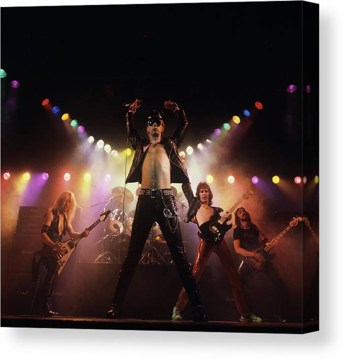 People Canvas Print featuring the photograph Judas Priest Album Cover Shoot by Fin Costello