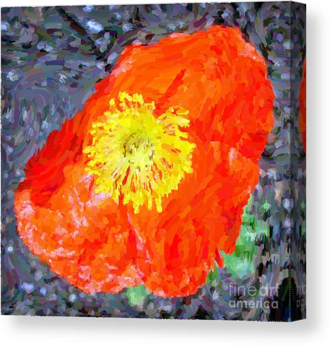 Orange Canvas Print featuring the mixed media Orange Poppy by Tracy Ruckman
