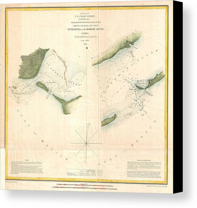 Canvas Print featuring the photograph 1853 Us Coast Survey Chart Or Map Of St Georges Sound Florida by Paul Fearn