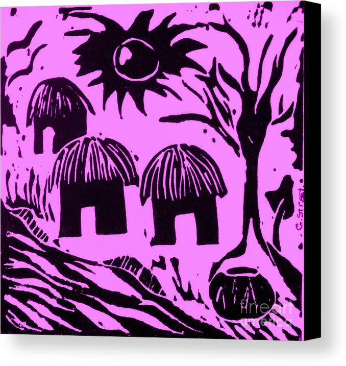 Lino Canvas Print featuring the relief African Huts Pink by Caroline Street