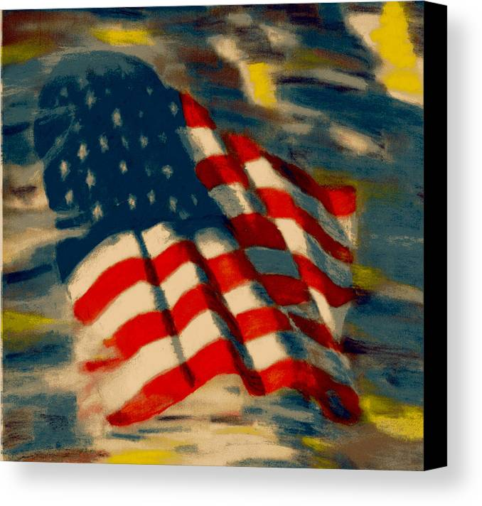 America Canvas Print featuring the pastel American Flag by Patrick McClellan