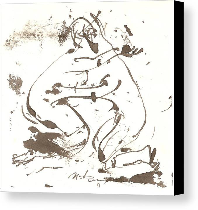Kiss Canvas Print featuring the drawing Kiss by Ivan Filichev