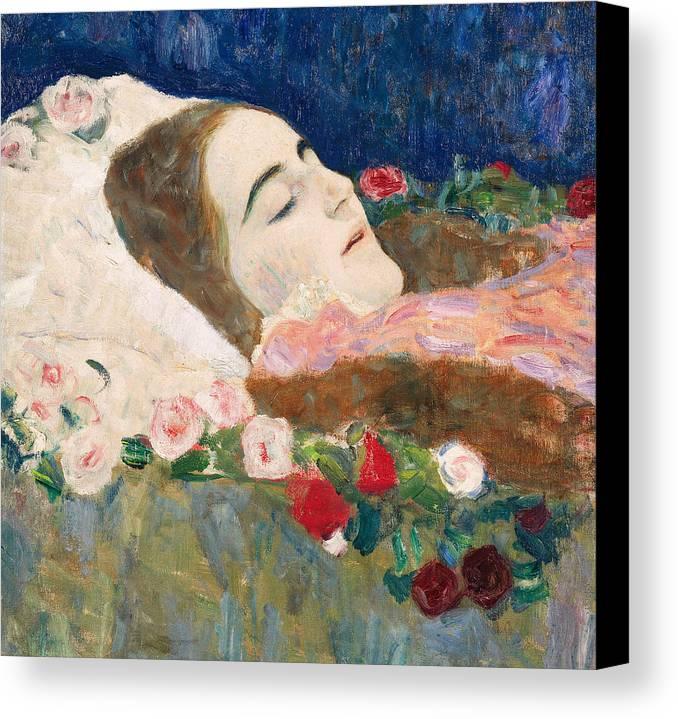 Gustav Klimt Canvas Print featuring the painting Miss Ria Munk On Her Deathbed by Gustav Klimt