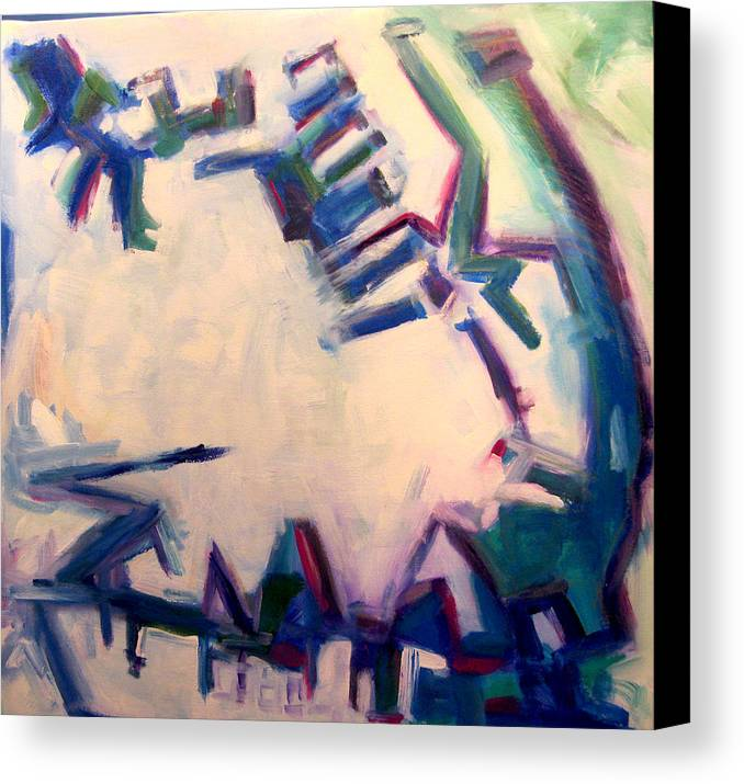 Cityscape Canvas Print featuring the painting Anatevka by Tali Farchi