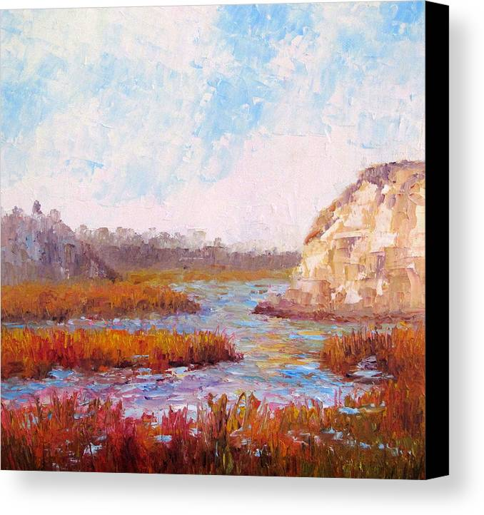 Water Canvas Print featuring the painting Winter At The Back Bay by Terry Chacon