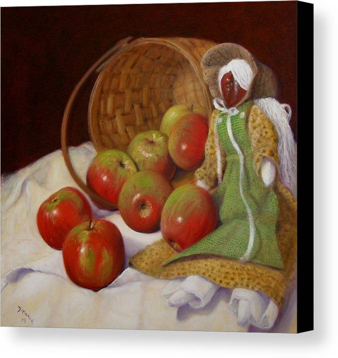 Realism Canvas Print featuring the painting Apple Annie by Donelli DiMaria