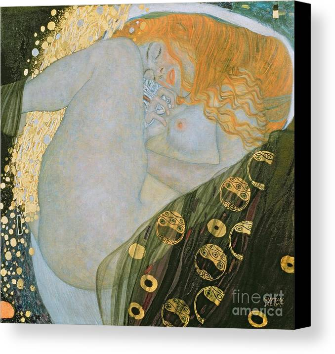 Danae Canvas Print featuring the painting Danae by Gustav Klimt
