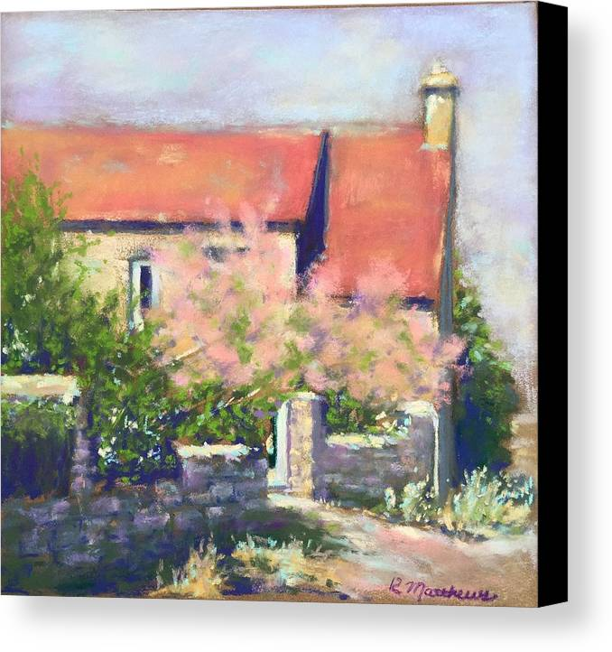 French Cottage Canvas Print featuring the pastel French Cottage by Rebecca Matthews