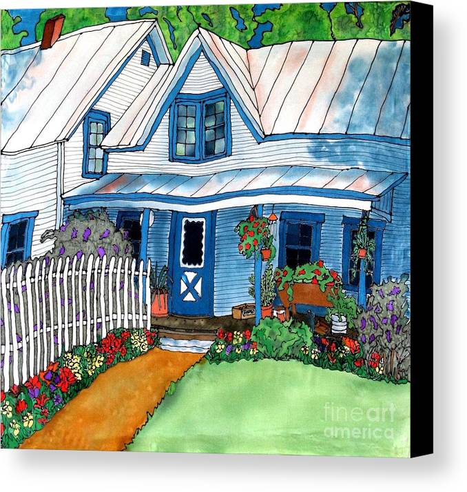Church Canvas Print featuring the painting House Fence And Flowers by Linda Marcille