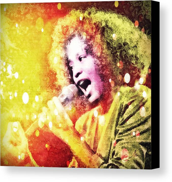 Whitney Houston Canvas Print featuring the digital art I Will Always Love You by Mo T