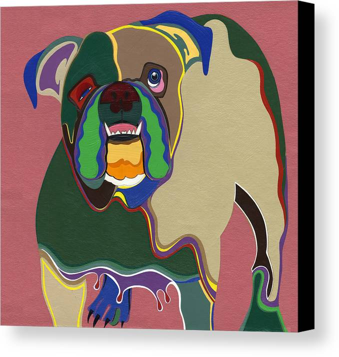 Dogs Canvas Print featuring the painting Ms Diva The English Bulldog by Ruby Persson