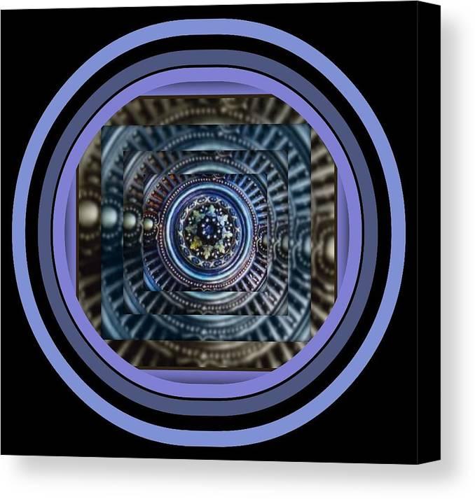 Joan Kamaru Canvas Print featuring the digital art Plaster Art - Blue Circle by Joan Kamaru
