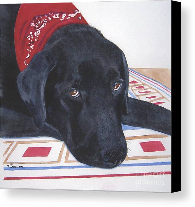 Black Canvas Print featuring the painting Red Bandana by Teresa Boston