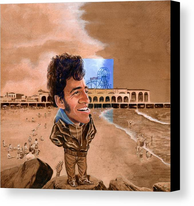 Bruce Springsteen Canvas Print featuring the painting Springsteen On The Beach by Ken Meyer