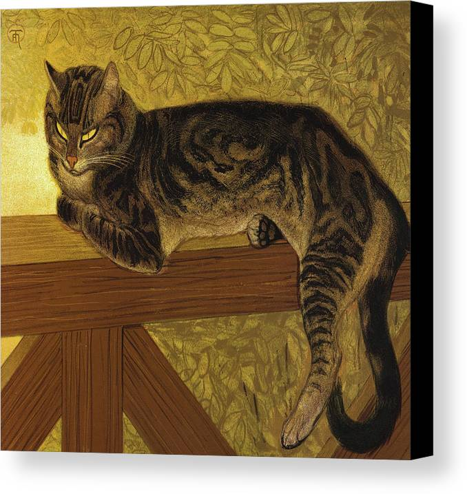 Theophile Canvas Print featuring the painting Summer Cat On A Balustrade by Theophile Steinlen