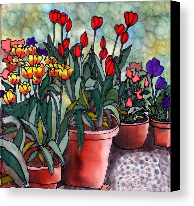 Silk Canvas Print featuring the painting Tulips In Clay Pots by Linda Marcille