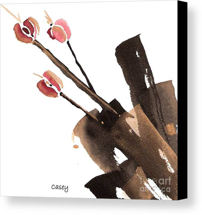 Sumi Canvas Print featuring the painting Tulips Three by Casey Shannon
