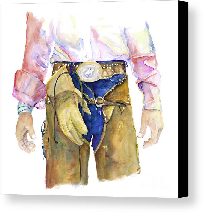 Cowboy Painting Canvas Print featuring the painting Wrangler by Pat Saunders-White