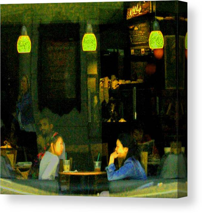 Starbucks Canvas Print featuring the digital art Coffee Talk by Joseph Coulombe