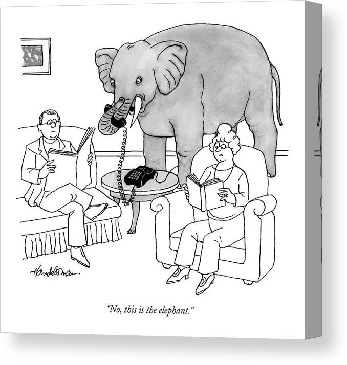 Elephants Talking Pets   (elephant Answering A Phone In A Living Room.) 121678 Jha J.b. Handelsman Canvas Print featuring the drawing No, This Is The Elephant by J.B. Handelsman