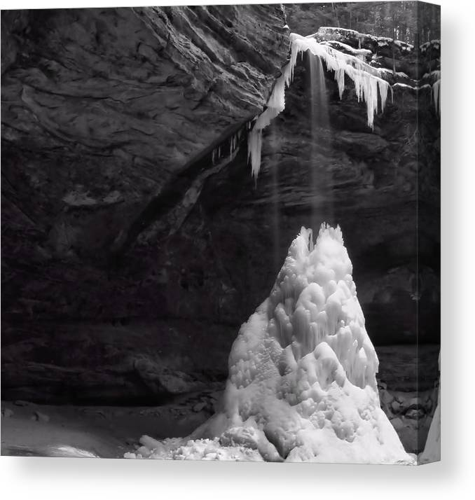 Frozen Waterfall At Ash Cave In Hocking Hills State Park Canvas Print featuring the photograph Frozen Waterfall by Dan Sproul