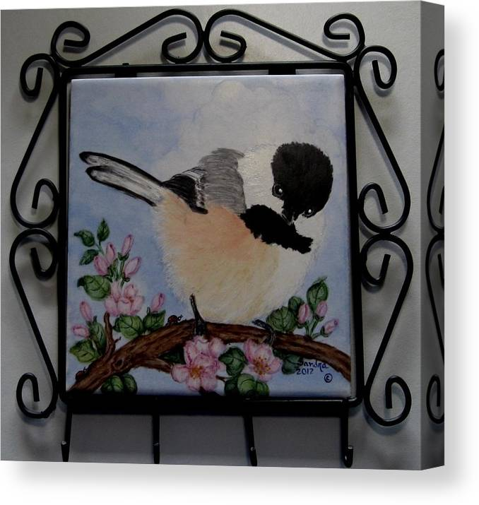 Key Hanger Canvas Print featuring the painting Fluffy Chickadee Key Hanger by Sandra Maddox
