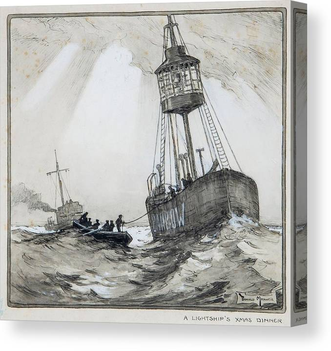 Donald Maxwell (1877-1936) - A Lightship's Xmas Dinner Canvas Print featuring the painting A Lightship's Xmas Dinner by Donald Maxwell